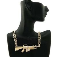 Retail & wholesale Vintage Punk Cool 2014 Brand Gold Machine Gun Choker Necklace, retro, free shipping