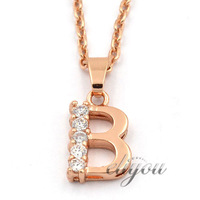 "NEW Fashion Jewelry Mens Womens Letter ""B"" Shape w CZ 18K Rose Gold Filled Pendant Necklace Optional Chain Free Shipping P62R"