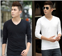 TUSS15024 2015 pure colour top full sleeve t shirt men,fashions O-neck  3 colours ,size M to XXL  free shipping