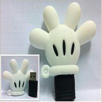 2GB 4GB 8GB 16GB 32GB USB 2.0 Flash Drive Cartoon White Mickey Mouse Palm Vola USB Memory Stick Flash Pen Drive Free Shipping
