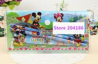 (10 Sets/Lot) Kawaii Hello Kitty Frozen Car Mickey Button Pen Case School Children Boys Girls Stationery Student Papelaria Set