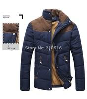 2015 Hot sale Men Winter Splicing Cotton-Padded Coat Jacket Winter Plus Size Parka High Quality