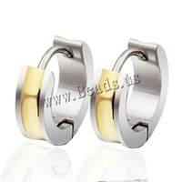 Free shipping!!!Titanium Steel Huggie Hoop Earring,Supplies For Jewelry, , Donut, plated, two tone, 7x12.8mm, 10Pairs/Bag