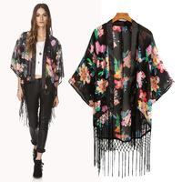 New women's print  flower fringed kimono -style cardigan chiffon shirt blouse 8038