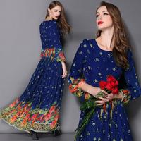 Best Quality 2015 New Fashion Women Vintage Floral  Print 3/4 Sleeve Floor Length Silk Long Dress Bohemian Beach Maxi Dress