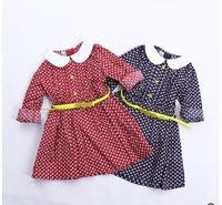 2015 spring  girl yellow belt Floral Dress Doll Collar long sleeve 5pcs/lot wholesale