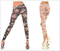 Sales!! 2015 New Flower Printed Leggings for Women Vintage Fitness Plus Size Sexy Leggins Low Waist Black/Beige 8603