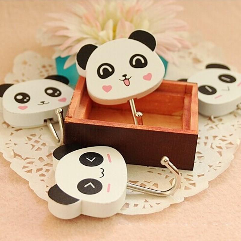 New Fashion 4PCS (2 Sets ) Cute Wooden Cartoon Panda Self Adhesive Wall Hooks Strong Bathroom&Kitchen Sticky Holder Accessories(China (Mainland))