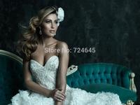 2014 New Fashion Wedding Dresses Lace Appliques Beading wedding dress Free Custom Made Shipping