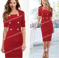 New Design Double Breasted Stylish Sexy European Fashion Slim Women Hot Sale Plus Size Clothing Vintage Style Work Stylish Dress
