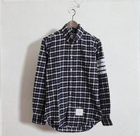 THOM white and navy plaid cotton Oxford cloth long sleeve slim Shirt