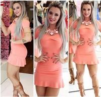 S-XL 2015 Summer new fashion Women's pink sexy mini short dress # JM981