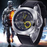 Dual display watches Sports Watch Waterproof Men Quartz Digital Watch LED Army Military Watches Men Wristwatch Leather Relogio