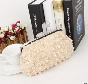 New 2015 Begs Women Black White Beaded pearls Clutch Bag Diamond Lace Flower Ladies Hangbags Handmade bolsa estojo kippling(China (Mainland))