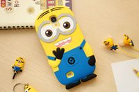 For Samsung Galaxy Note2 N7100 Note 3 N9000 Cute Cartoon Soft Silicon Rubber Back Cover Despicable Me Yellow Minion Case FA014