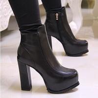 Fashion thick heel martin boots high-heeled boots platform women's shoes side zipper winter plus velvet boots