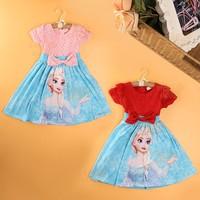 Free shipping -5pieces/lot -Cartoon girls short-sleeved dress bow hollow - baby dress