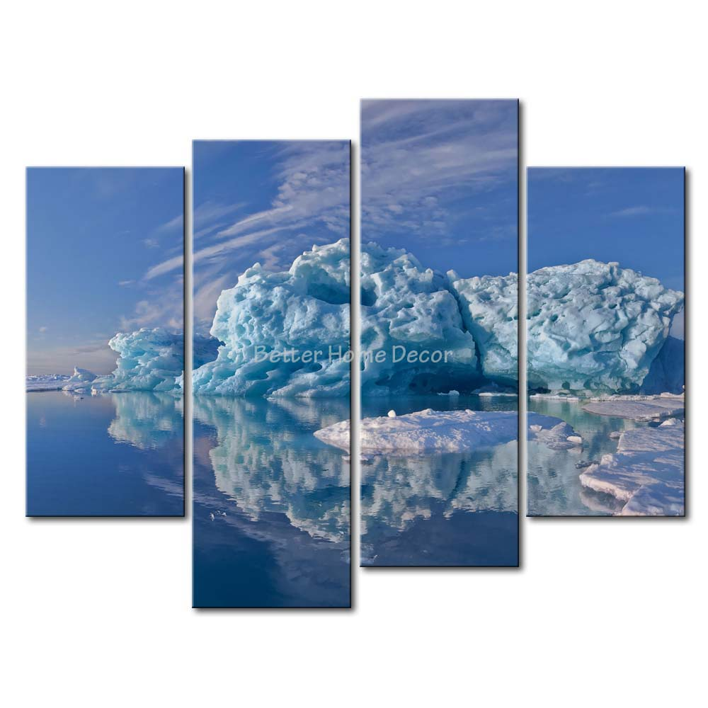 3 Piece Blue Wall Art Painting Iceberg Greenland Lake Picture Print On Canvas Landscape 4 5 The Picture Home Decor Oil Prints(China (Mainland))