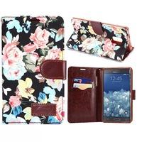 Fashion Flower Canvas Case with Card Slot for Samsung Galaxy Note Edge,Leather Cases Stand Cover for Galaxy Note Edge  N9150