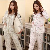 New Spring Women pajamas long-sleeved Round neck pyjamas female Knitted Cotton tracksuit Floral sleepwear