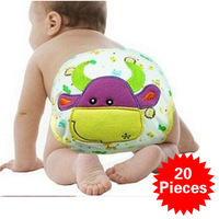 20pcs Wholesale Free shipping Wholesales Cotton Diaper Nappy Newborn Baby Infant Adjustable Reusable Cloth Diaper High quality