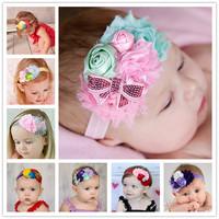 2015Free shipping!!(8pcs a Lot) Fashionable Rosebud Hairband Soft Elastic Headband Hair Accessories for Baby Kids Girls Children