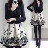 2015 new winter thick dresses women vintage casual patchwork Digital Printing long sleeve slim elegant mini tutu dress S-XL