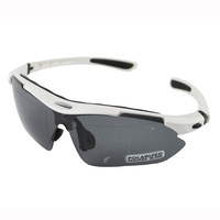 UV400 4 Lens Protection PC Lens Resin Frame Sunglasses Goggles Set White Frame