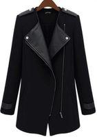 2015 New Winter/Fall High Quality Fashion Women Casual Black Contrast PU Leather Trims Oblique Zipper Coat,