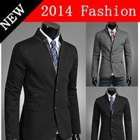 2014 NEW Winter Fashion Black gray blazer masculino Male suit jacket Casual men's suits clothing Men slim fit blazers 1107K
