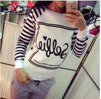 2015 European personality Sweatshirts, Fashion bubble letters printed cotton stripe Hoodies Free shipping