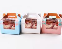 New Year 4 holder  cupcake carrier cupcake box/cake display/Wedding Favor Boxes/Cupcake Muffin Box Holds 4 cake