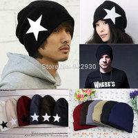 Mens Womens Plain / Star Winter Warm Knit Ski Beanie Skull Hat Unisex Lovers Hats Unisex Gift Free Shipping