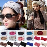 Fashion Women Girl Knit Headband Crochet Hairband Beanie Ear Warmer Headwrap Turban Bow knot / Twist braided 2 Style 19 Colors