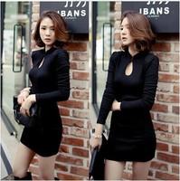 new arrival 2015 sexy cheongsam dress women vintage casual stand collar long sleeve slim elegant solid skinny mini dresses S-XL