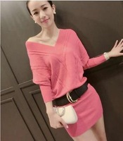 hot sale 2015new autumn and winter women batwing sleeve dress ol slim sexy v-neck knitted package hip basic casual sweater WX274