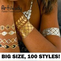 Artilady metallic tattoo set big size gold tattoo silver temporary tattoos metallic temporary tattoos women jewelry