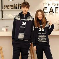 Lovers autumn and winter 2014 sweatshirt piece set plus velvet thickening lovers sports set class service