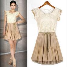 Roupas femininas Casual Dress tribunal estilo Retro Lace mangas bonito vestidos baratos Bandage vestido de baile das mulheres vestido de verão(China (Mainland))