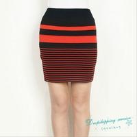 Women Winter Knitted Skirt Collision Color Stripes Skirt Women Autumn Temperament Skirt Free Shipping