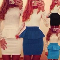 2015 Sexy Women Long Sleeve Patchwork Slim Bodycon Lace Cocktail Party OL Wear Peplum Flounce Mini Pencil Dress Vestidos