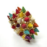 [Min. 10$] aliexpress 2015 punk bracelet turquoise spikes&skulls gold chain handmade specail !!