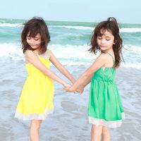 Aones Summer Girls Princess Dress Sleeveless Children Suspender Party Dresses Shoulder-straps A-line Solid Kids Tutu Dress DS194
