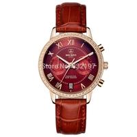 Authentic lady fashion quartz watch female skin with big dial watch waterproof retro fashion diamond