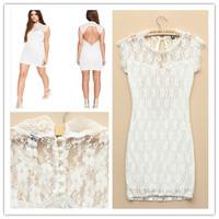 New Fashion 2015 Summer Casual Dress Women Sexy Stitching Lace Backless Sheath Femininas Dresses Plus Size M-XL