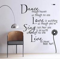 1set High Quality Dance Love Sing Live DIY Removable Vinyl Wall Sticker Decal Art home decoration,adesivo de parede