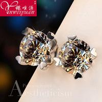 925 Sterling Silver heart-shaped Earrings Korean Europe really zircon fashion ear jewelry platinum plated anti allergy