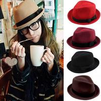 New Fashion New Men Ladies Wool Felt Panama Trilby Fedora Jazz Dance Bowler Hat Cap FH-1226