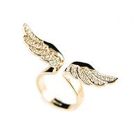 [Min. 10$] 2015 fashion rhinestone crystal 18k gold ring angel wing rings for women R148