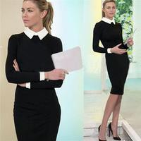 2015 Autumn Knee-length Women Winter Elegant Office Work Dresses Patchwork Long Sleeve Casual Bodycon Bandage Dress Black